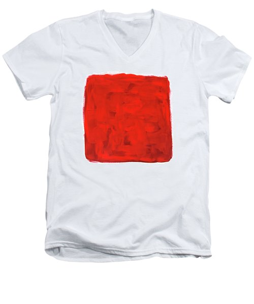 Handmade Vibrant Abstract Oil Painting Men's V-Neck T-Shirt by GoodMood Art