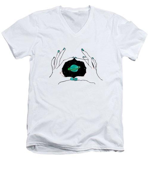 Hands Around Saturn Men's V-Neck T-Shirt