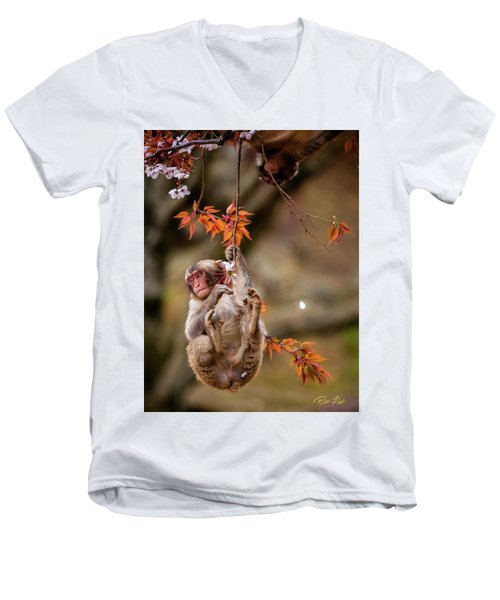 Men's V-Neck T-Shirt featuring the photograph Hang In There, Baby Redux by Rikk Flohr