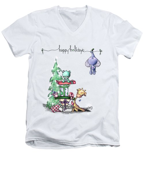 Hanging Around For The Holidays Men's V-Neck T-Shirt by Lizzy Love