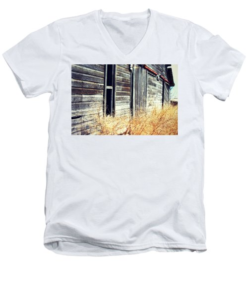 Men's V-Neck T-Shirt featuring the photograph Hanging By A Bolt by Julie Hamilton
