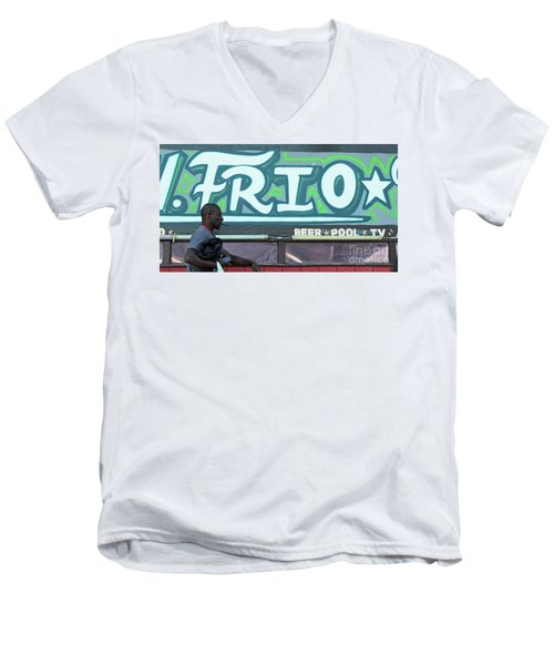Men's V-Neck T-Shirt featuring the photograph Hanging Out On Frio Street by Joe Jake Pratt