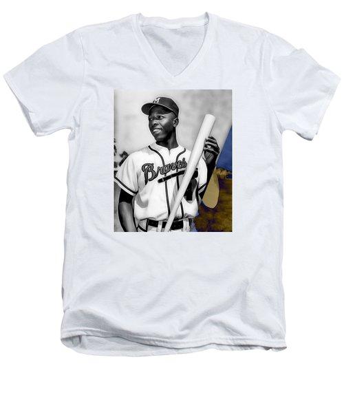 Hank Aaron Men's V-Neck T-Shirt by Marvin Blaine