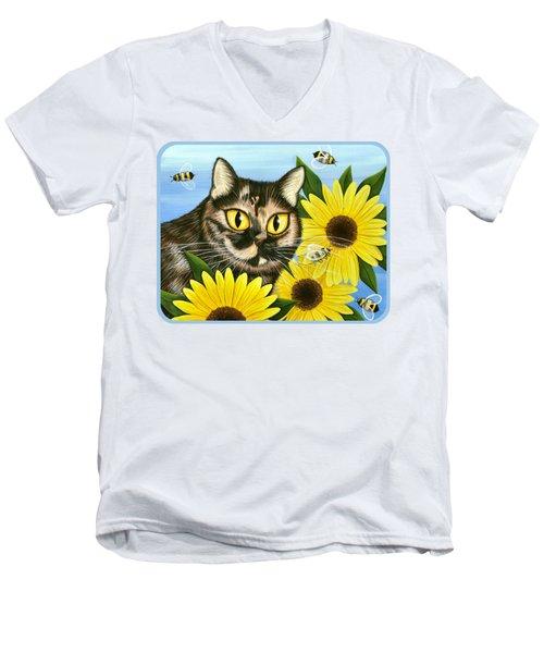 Hannah Tortoiseshell Cat Sunflowers Men's V-Neck T-Shirt