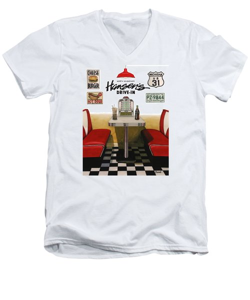 Men's V-Neck T-Shirt featuring the painting Hansen's Drive-in by Ferrel Cordle