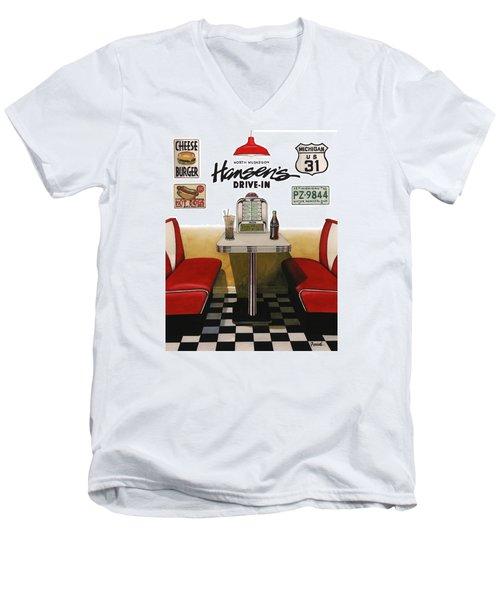 Hansen's Drive-in Men's V-Neck T-Shirt by Ferrel Cordle