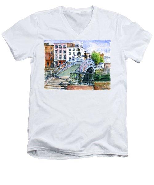 Ha'penny Bridge Dublin Men's V-Neck T-Shirt by John D Benson
