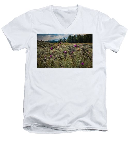 Happier In The Mountains Men's V-Neck T-Shirt by Cathy Donohoue