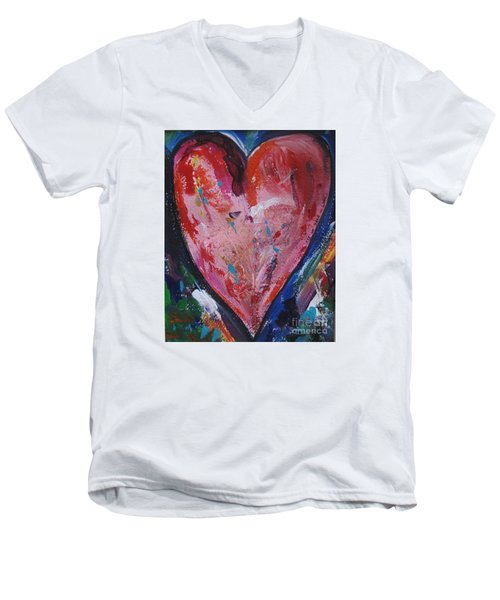 Men's V-Neck T-Shirt featuring the painting Happiness by Diana Bursztein
