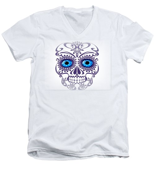 Happy Blue-eyed Skull Men's V-Neck T-Shirt
