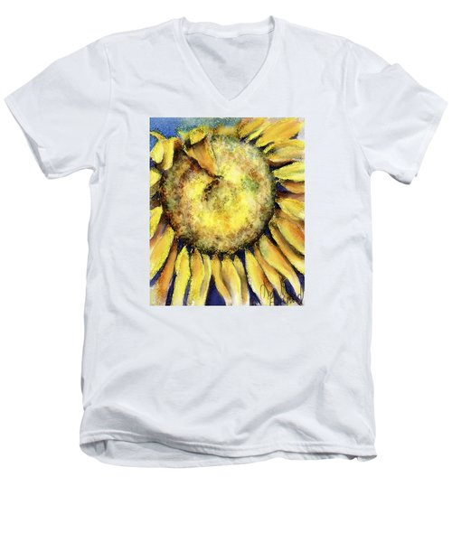 Men's V-Neck T-Shirt featuring the painting Happy Day by Annette Berglund