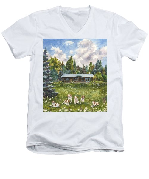 Happy Dogs Men's V-Neck T-Shirt by Anne Gifford