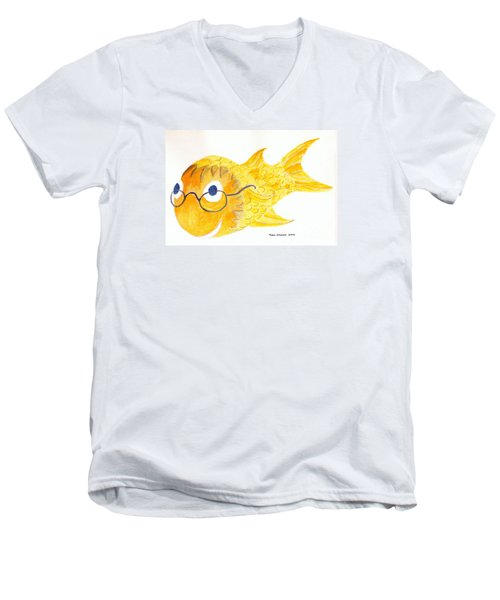 Happy Fish With Glasses Men's V-Neck T-Shirt by Fred Jinkins