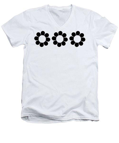 Happy Flower Trio  Men's V-Neck T-Shirt
