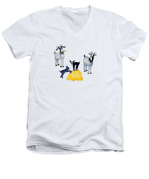 Happy Goats Men's V-Neck T-Shirt by Sarah Rosedahl