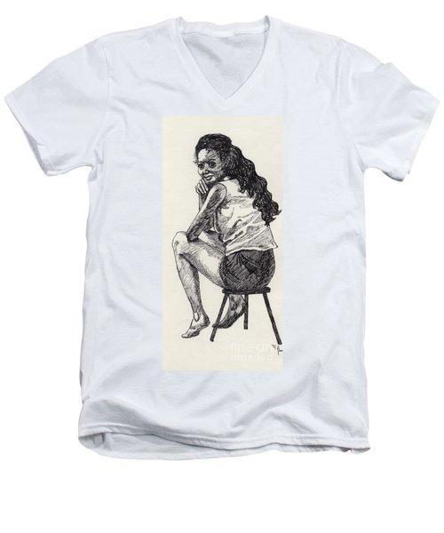 Happy Greeting Men's V-Neck T-Shirt by Annemeet Hasidi- van der Leij