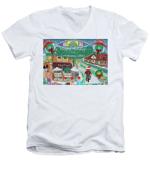 Men's V-Neck T-Shirt featuring the painting Happy Holidays From Loveland, Ohio by Diane Pape