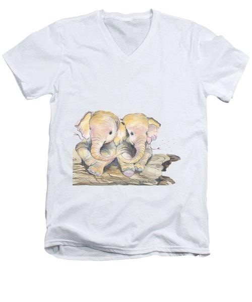 Happy Little Elephants Men's V-Neck T-Shirt