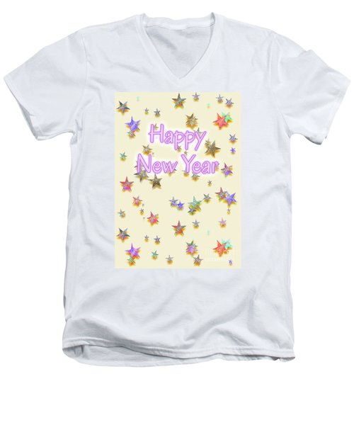 Happy New Year Stars Men's V-Neck T-Shirt
