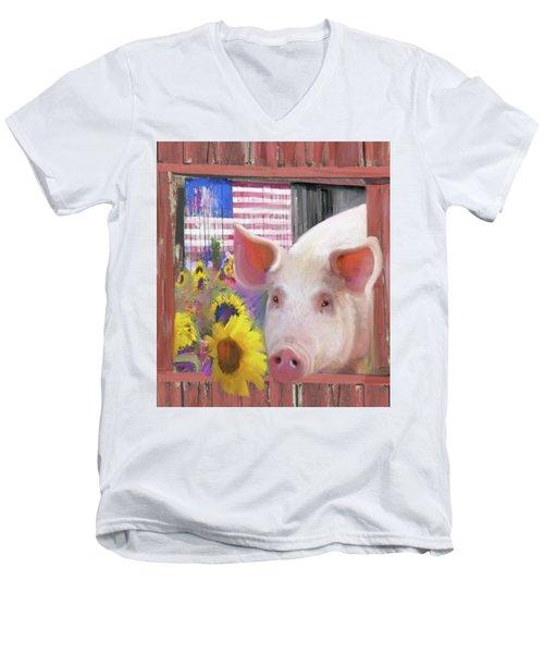 Happy Pig  Men's V-Neck T-Shirt by Julianne Ososke