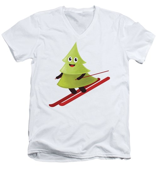 Happy Pine Tree On Ski Men's V-Neck T-Shirt