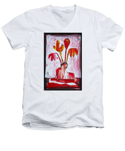 Happy Poppy Men's V-Neck T-Shirt by DAKRI Sinclair