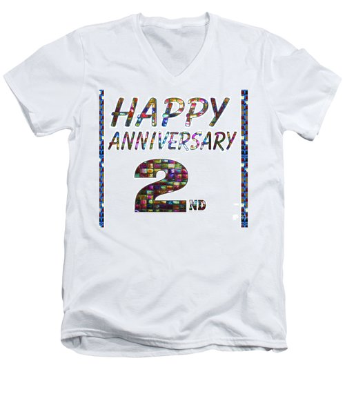 Happy Second 2nd Anniversary Celebrations Design On Greeting Cards T-shirts Pillows Curtains Phone   Men's V-Neck T-Shirt