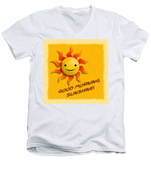 Happy Sun Face Men's V-Neck T-Shirt by John Wills