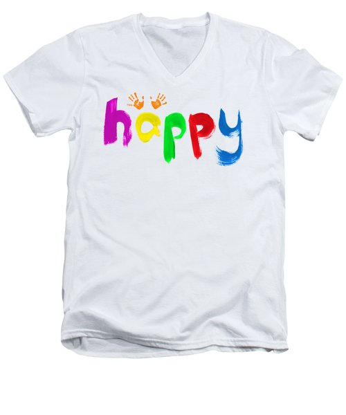 Happy Men's V-Neck T-Shirt by Tim Gainey