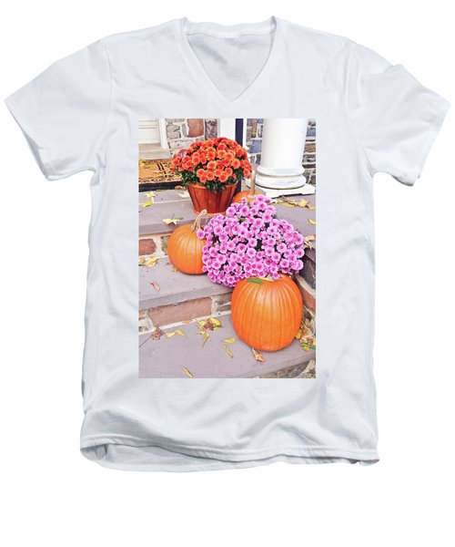Men's V-Neck T-Shirt featuring the photograph Happy Thanksgiving by Ann Murphy