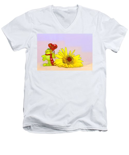 Men's V-Neck T-Shirt featuring the photograph Happy Valentine's Day by Teresa Zieba