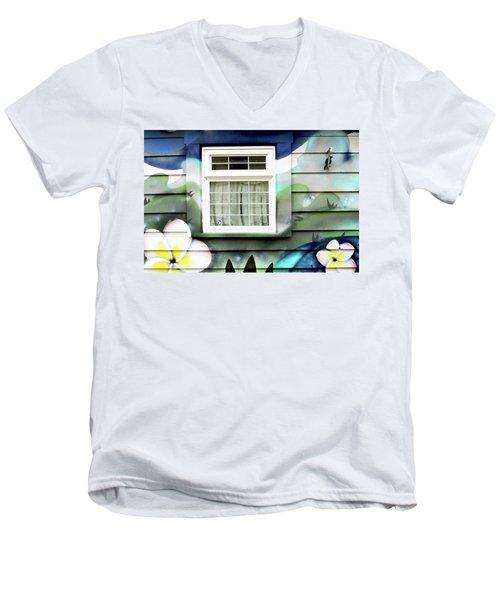 Happy Window Men's V-Neck T-Shirt by Haleh Mahbod