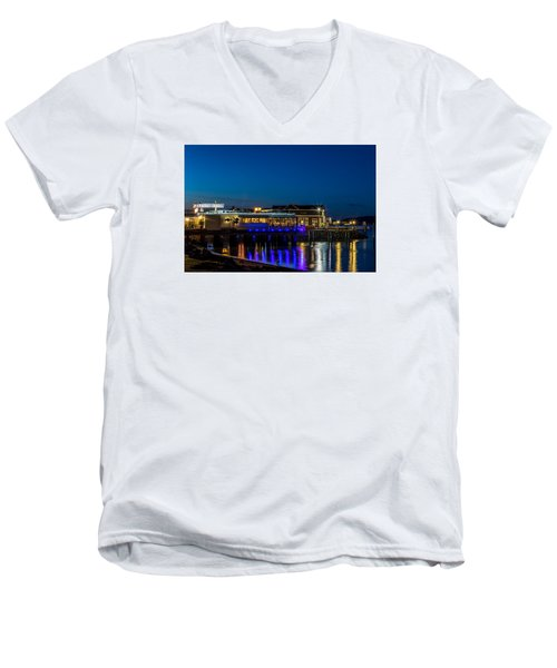 Harbor Lights During Blue Hour Men's V-Neck T-Shirt by Rob Green