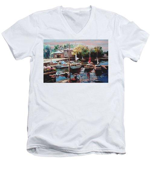 Harbor Sailboats At Rest Men's V-Neck T-Shirt