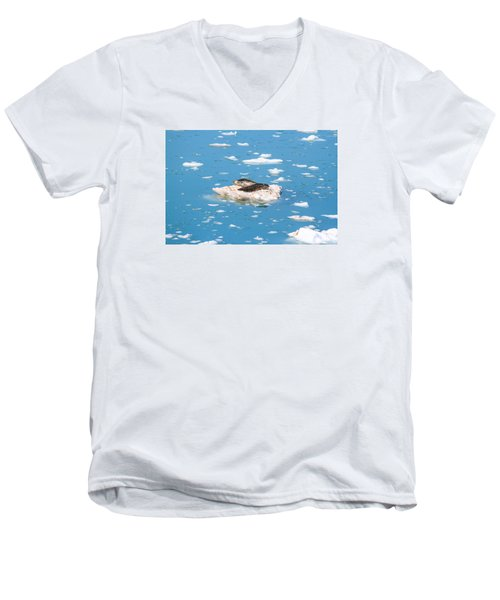 Harbor Seals On Clouds Of Ice Men's V-Neck T-Shirt by Allan Levin