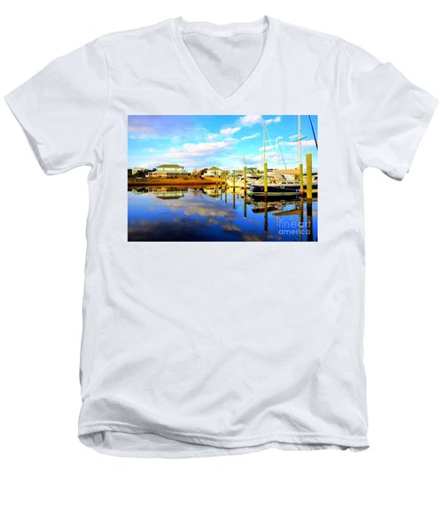 Men's V-Neck T-Shirt featuring the photograph Harbour Reflections by Shelia Kempf