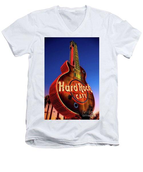 Hard Rock Hotel Guitar At Dawn Men's V-Neck T-Shirt by Aloha Art