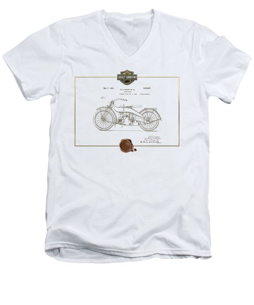 Men's V-Neck T-Shirt featuring the digital art Harley-davidson 1924 Vintage Patent Document  by Serge Averbukh