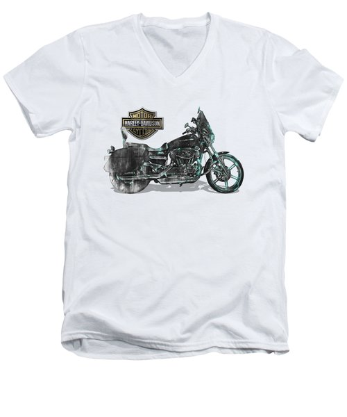Men's V-Neck T-Shirt featuring the digital art Harley-davidson Motorcycle With 3d Badge Over Vintage Patent by Serge Averbukh