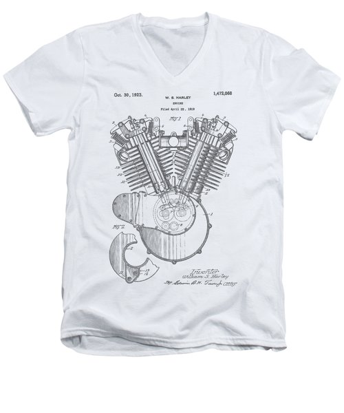Harley Engine Patent Drawing Men's V-Neck T-Shirt