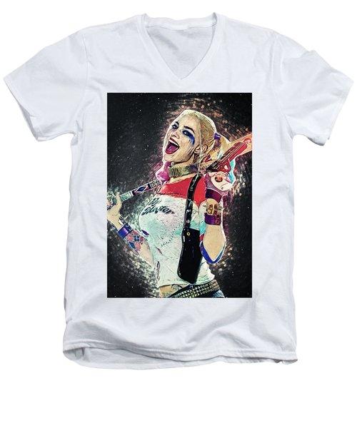 Harley Quinn Men's V-Neck T-Shirt by Taylan Apukovska