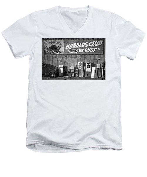 Harold's Club Men's V-Neck T-Shirt by Marius Sipa