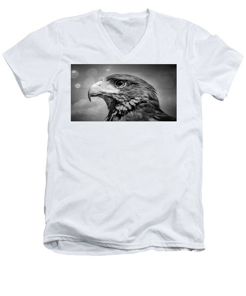 Harris Hawk  Black And White Men's V-Neck T-Shirt