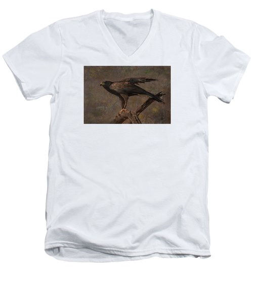 Men's V-Neck T-Shirt featuring the photograph Harris's Hawk by Barbara Manis