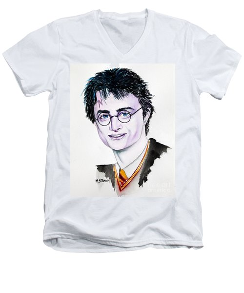 Men's V-Neck T-Shirt featuring the painting Harry Potter by Maria Barry