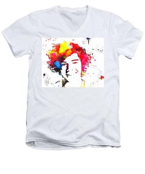 Harry Styles Paint Splatter Men's V-Neck T-Shirt by Dan Sproul