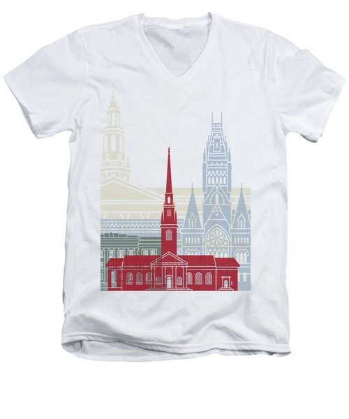 Harvard Skyline Poster Men's V-Neck T-Shirt