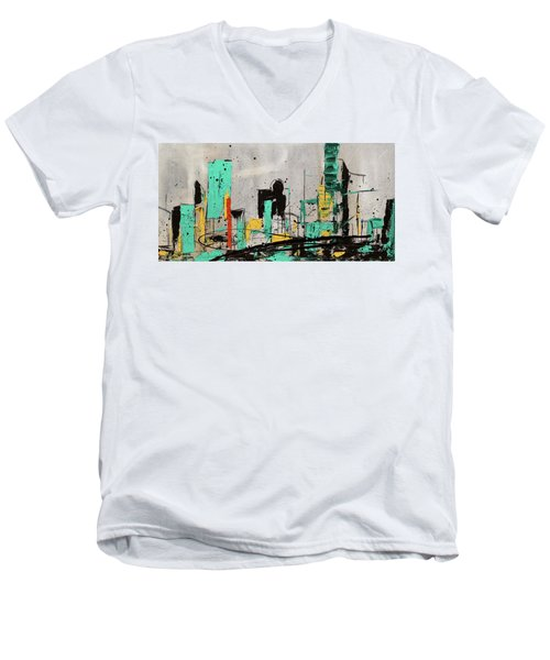 Men's V-Neck T-Shirt featuring the painting Hashtag City by Carmen Guedez