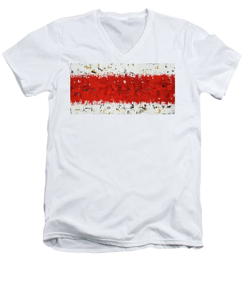 Men's V-Neck T-Shirt featuring the painting Hashtag Red - Abstract Art by Carmen Guedez