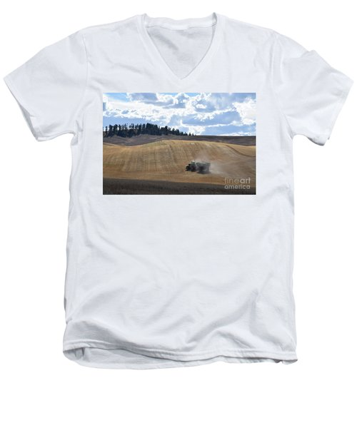 Hauling The Harvest From The Fields. Men's V-Neck T-Shirt
